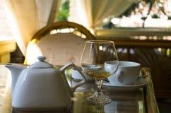 Brandy with tea Royalty Free Stock Photos