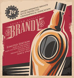 Brandy vintage poster design template. Retro drink creative printed media concept. Vector flyer or banner background layout. No gradients or effects, just fill royalty free illustration