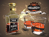 Brandy was pour in two glasses with bottle. On shabby background Stock Photos