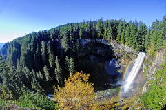Brandywine Falls with rainbow in Brandywine Falls Provincial Park Stock Photos