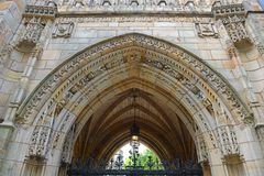 Branford Hall, Yale University, CT, USA. Gateway to Branford Hall in Yale University, New Haven, Connecticut, USA stock photos