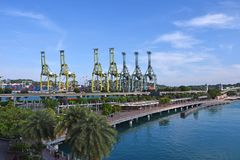Brani Terminal and Sentosa Broadwalk Royalty Free Stock Image