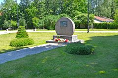 BRANIEWO, POLAND. The memorable sign in the memorial park `Square of Siberians`. Polish text `Square of Siberians`. BRANIEWO, POLAND - JUNE 07, 2016: The stock images