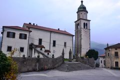Branik Slovenia wioski widoku Gorica krasu Primorska regionu kasztel Rihenberk Kras Obraz Royalty Free