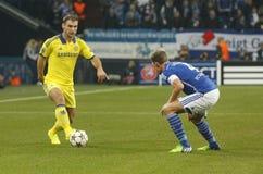 Branislav Ivanović  FC Schalke v FC Chelsea 8eme Final Champion League Royalty Free Stock Images