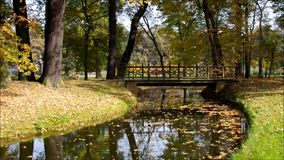 Branitz Park in Lusatia, Germany. Branitz Park bridge in Lusatia, Germany stock footage