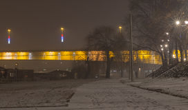 Branko ` s桥梁在有雾的晚上贝尔格莱德塞尔维亚 库存照片