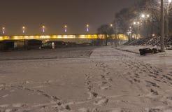 Branko ` s桥梁在有雾的晚上 免版税库存图片