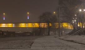 Branko` s brug bij mistige nacht Belgrado Servië Stock Foto