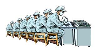 Bransch Elektronikproduktionsanläggning Många arbetare royaltyfri illustrationer