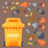 Bransch för ledning för gummihjul för avfall för beståndsdelar för återvinningavskräde använder organisk avfalls kan vektorillust vektor illustrationer