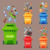 Bransch för ledning för gummihjul för påsar för avfall för återvinningavskrädebeståndsdelar använder avfalls kan vektorillustrati Royaltyfri Bild