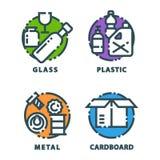 Bransch för ledning för gummihjul för påsar för avfall för återvinningavskrädebeståndsdelar använder avfalls kan vektorillustrati Royaltyfria Foton