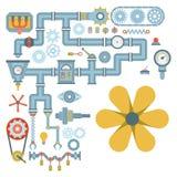 Bransch för utrustning för kugghjul för design för detalj för arbete för tillverkning för olik vektor för mekanism för maskindela stock illustrationer