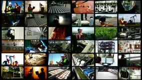 Bransch och arbetare - kluven skärm stock video
