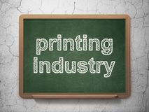 Branschbegrepp: Printingbransch på svart tavlabakgrund royaltyfri illustrationer