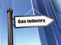 Branschbegrepp: teckengasbransch på byggnadsbakgrund Royaltyfri Bild