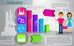 Branschinfographicsproduktionsprocess stock illustrationer