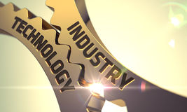 Branschteknologibegrepp Guld- metalliska kugghjul 3d Arkivfoto