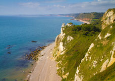 Branscombe beach Devon. Branscombe beach in Devon looking towards Sidmouth. It is located within the East Devon Area of Outstanding Natural Beauty,  It is part Stock Photos