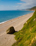 Branscombe beach looking towards Sidmouth. Branscombe beach in Devon looking towards Sidmouth. It is located within the East Devon Area of Outstanding Natural Royalty Free Stock Photography