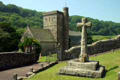 Branscombe Church. In Devon with war memorial to foreground Royalty Free Stock Images