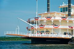 The Branson Belle Showboat. As it leaves dock on Table Rock Lake in Branson, Mo. Riverboat rides on  are one of the most popular attractions for those on Royalty Free Stock Photo