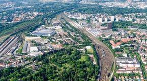Bransvique, Baixa Saxónia, Alemanha, o 24 de maio de 2018: Arredores da estação de Bransvique de uma altura de 900 medidores Imagem de Stock Royalty Free