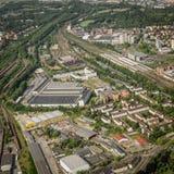 Bransvique, Baixa Saxónia, Alemanha, o 24 de maio de 2018: Propriedade industrial na parte do sul da cidade ao lado da estação de Fotos de Stock Royalty Free