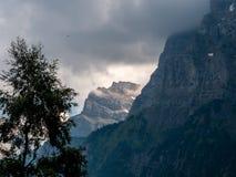 Brant berglandskap i de schweiziska fjällängarna som täckas i moln royaltyfri fotografi