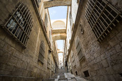 Brant gata av Jerusalem royaltyfri foto