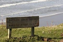 Brant klippavarning undertecknar på engelskt och walesiskt royaltyfria bilder