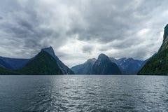 Brant kust i bergen på Milford Sound, fjordland, Nya Zeeland 1 royaltyfria foton