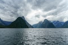 Brant kust i bergen på Milford Sound, fjordland, Nya Zeeland 9 royaltyfri bild