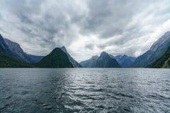 Brant kust i bergen på Milford Sound, fjordland, Nya Zeeland 8 royaltyfri fotografi