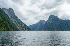 Brant kust i bergen på Milford Sound, fjordland, Nya Zeeland 14 royaltyfri fotografi