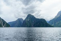 Brant kust i bergen på Milford Sound, fjordland, Nya Zeeland 17 royaltyfri fotografi