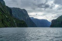 Brant kust i bergen på Milford Sound, fjordland, Nya Zeeland 41 fotografering för bildbyråer