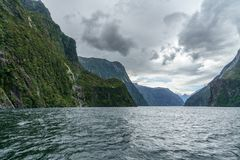 Brant kust i bergen på Milford Sound, fjordland, Nya Zeeland 45 royaltyfri fotografi