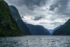 Brant kust i bergen på Milford Sound, fjordland, Nya Zeeland 49 royaltyfri bild