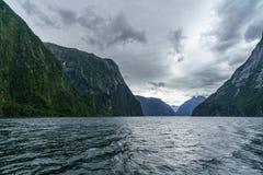 Brant kust i bergen på Milford Sound, fjordland, Nya Zeeland 51 royaltyfria foton