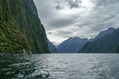 Brant kust i bergen på Milford Sound, fjordland, Nya Zeeland 55 arkivbild