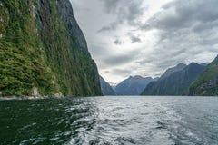 Brant kust i bergen på Milford Sound, fjordland, Nya Zeeland 57 arkivbilder
