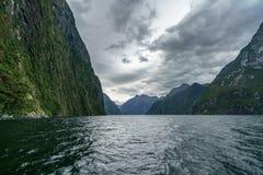 Brant kust i bergen på Milford Sound, fjordland, Nya Zeeland 58 royaltyfri fotografi