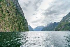 Brant kust i bergen på Milford Sound, fjordland, Nya Zeeland 60 arkivbild