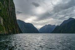 Brant kust i bergen på Milford Sound, fjordland, Nya Zeeland 65 royaltyfri foto