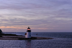 Brant Point Light Lighthouse, Nantucket, Massachusetts, USA. Brant Point Lighthouse during the blue hour just after sunset. Brant Point light, at the entrance to Stock Image