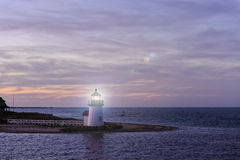 Brant Point Light Lighthouse, Nantucket, Massachusetts, USA. Brant Point Lighthouse during the blue hour just after sunset. Brant Point light, at the entrance to royalty free stock photo