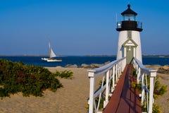 Brant Point Lighthouse na ilha de Nantucket imagens de stock royalty free