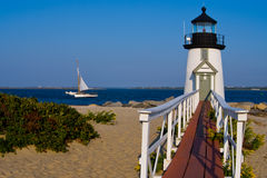 Brant Point Lighthouse on Nantucket Island. Has been rebuilt nine times due to its low location to sea level and New Englands fierce storms Royalty Free Stock Images